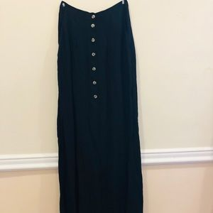 Maxi skirt front button up Georgette Black size 2